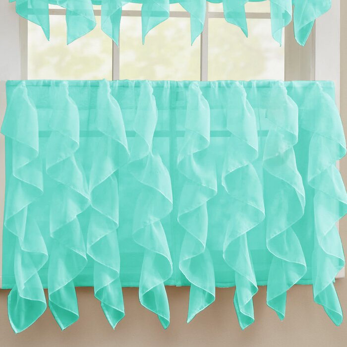 Fulgham Chic Sheer Voile Vertical Cafe Curtain In Maize Vertical Ruffled Waterfall Valance And Curtain Tiers (View 17 of 25)