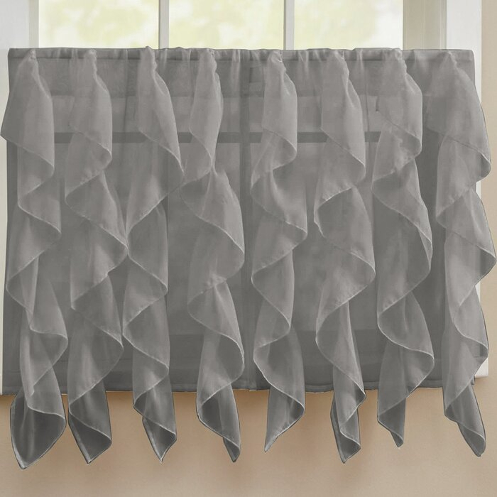 Fulgham Chic Sheer Voile Vertical Cafe Curtain Within Maize Vertical Ruffled Waterfall Valance And Curtain Tiers (Image 18 of 25)