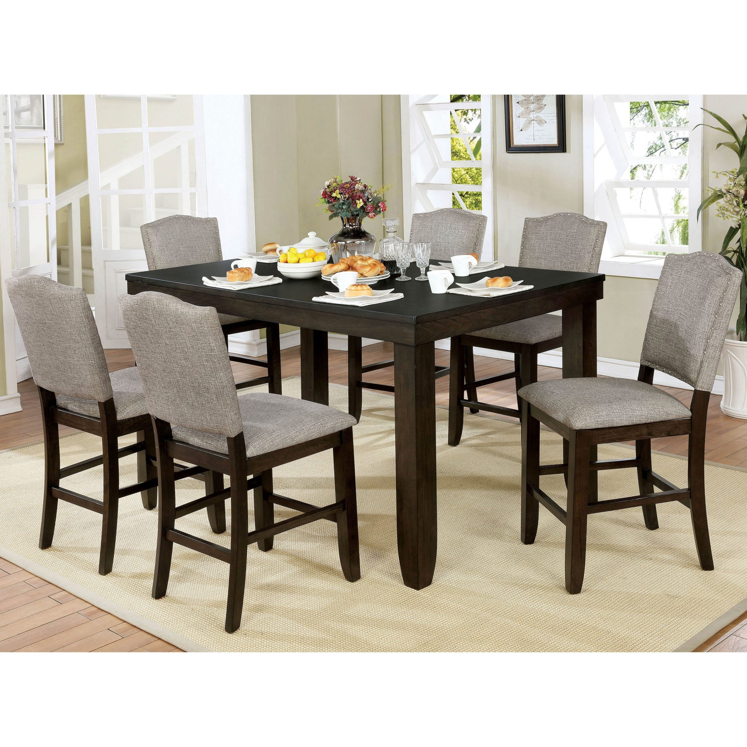Furniture Of America Davenport Transitional Dark Walnut Counter Height Dining Table In Latest Benchwright Bar Height Dining Tables (View 5 of 25)