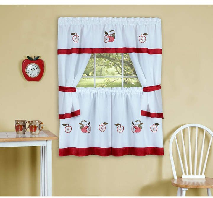 Gala Embellished Cottage Window Curtain Set, 58X36 Within Top Of The Morning Printed Tailored Cottage Curtain Tier Sets (View 3 of 25)