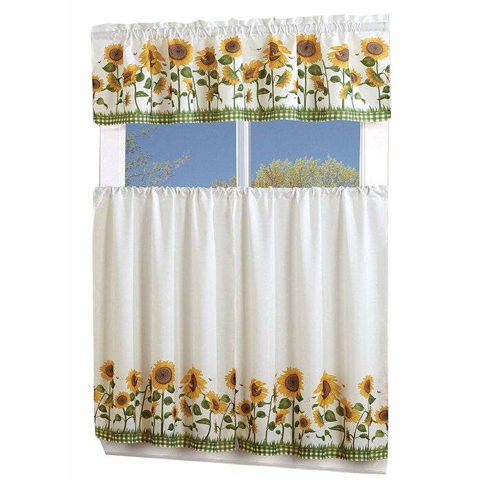 Garden Curtains Sunflower Tier & Swag Set Complete Kitchen With Regard To Traditional Tailored Window Curtains With Embroidered Yellow Sunflowers (View 13 of 25)