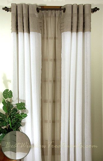 Geneva Sheer Colorblock Curtains In Linen/ivory With Regard To Ivory Micro Striped Semi Sheer Window Curtain Pieces (View 22 of 25)