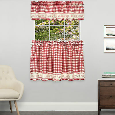 Gingham Stitch Live Laugh Love Kitchen Curtain Tier Pair Or Inside Live, Love, Laugh Window Curtain Tier Pair And Valance Sets (View 9 of 25)