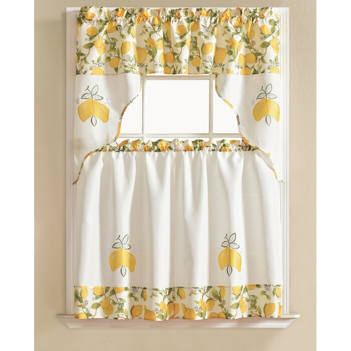 Gironde Lemon 3 Piece Kitchen Curtain Set Intended For Spring Daisy Tiered Curtain 3 Piece Sets (Image 10 of 25)