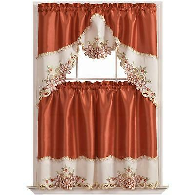 Gohd Arch Floral Kitchen Curtain Set/swag Valance Tier Set (View 11 of 25)