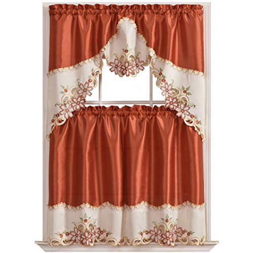 Gohd Arch Floral Kitchen Curtain Set/swag Valance & Tier Set (View 23 of 25)