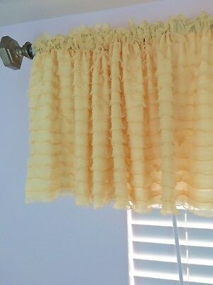 Gold Ruffle Valance Sheer Extra Wide Window Treatment – Nursery, Kitchen |  Ebay Pertaining To Vertical Ruffled Waterfall Valances And Curtain Tiers (Image 7 of 25)