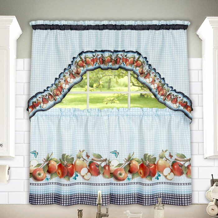 "Golden Delicious 57"" Tier And Swag Set Pertaining To Delicious Apples Kitchen Curtain Tier And Valance Sets (Image 13 of 25)"