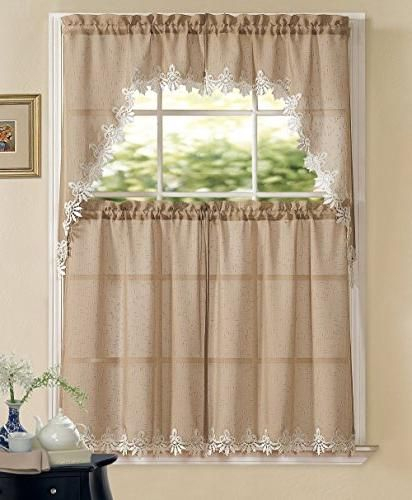 Goodgram Orchard Luxurious Matte Sheer Macrame Kitchen Pertaining To Luxurious Kitchen Curtains Tiers, Shade Or Valances (View 14 of 25)