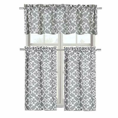 Goodgram Ultra Luxurious Grey Shabby 3 Piece Kitchen Curtain Tier & Valance Set   Ebay Throughout Cotton Blend Grey Kitchen Curtain Tiers (View 2 of 25)