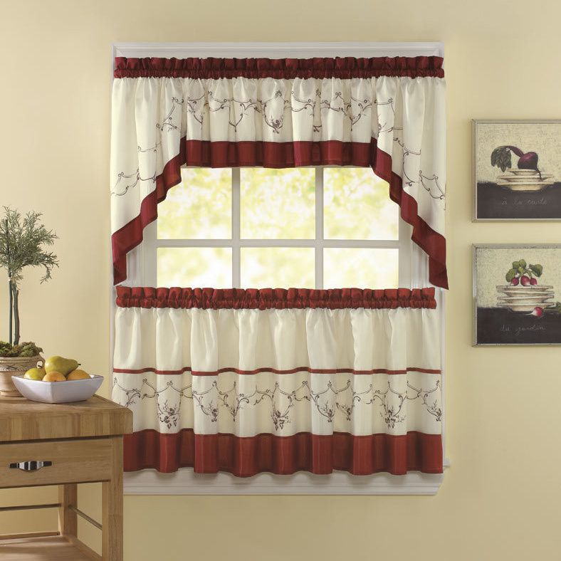 Grace Cinnabar 5 Piece Curtain Tier And Swag Set | Products Regarding 5 Piece Burgundy Embroidered Cabernet Kitchen Curtain Sets (View 24 of 25)