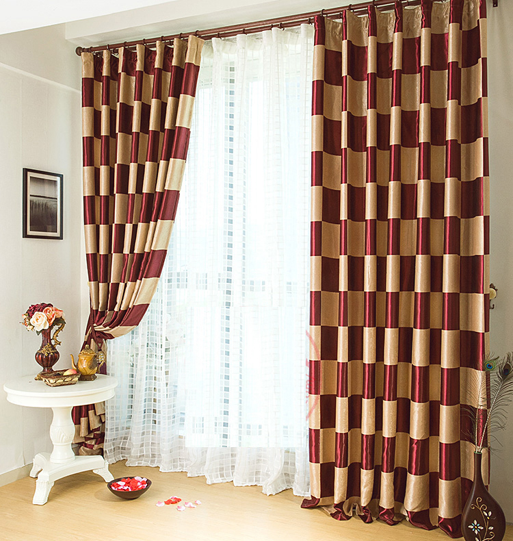Graceful Burgundy Plaid Polyester Good Quality Curtains Pertaining To Burgundy Cotton Blend Classic Checkered Decorative Window Curtains (View 14 of 25)