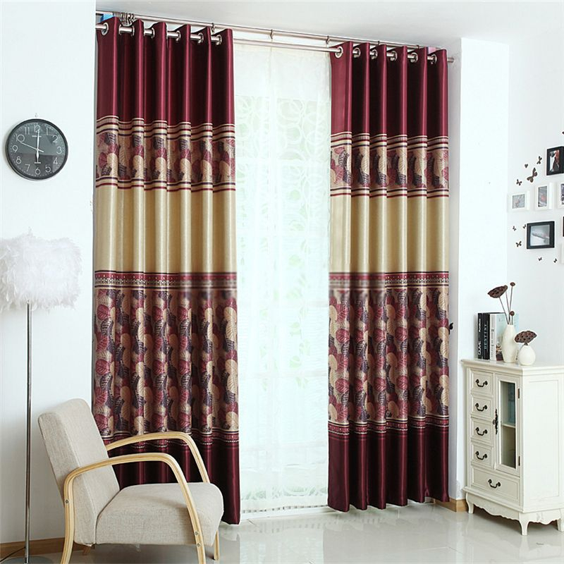 Graceful Solid And Leaf Print Curtains Of Burgundy Color In Regarding Burgundy Cotton Blend Classic Checkered Decorative Window Curtains (View 17 of 25)