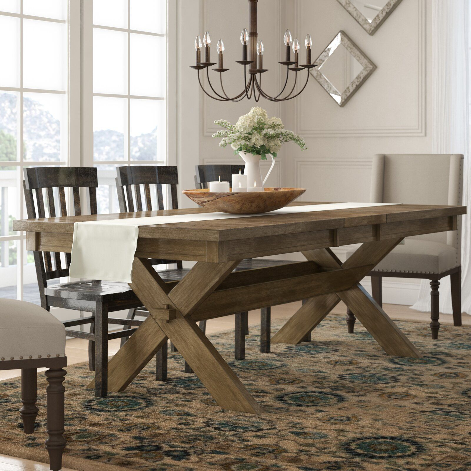 Gracie Oaks Poe Cross Buck Extendable Dining Table | Home Intended For Current Rustic Brown Lorraine Extending Dining Tables (View 15 of 25)