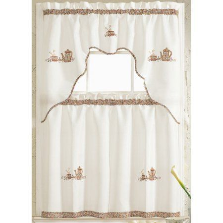 Grand Coffee Embroidered Kitchen Curtain, Brown | Products Throughout Coffee Embroidered Kitchen Curtain Tier Sets (View 2 of 25)