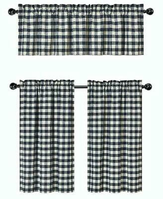 Gray 3 Pc Plaid Kitchen Curtain Set: 35% Cotton\1 Valance\2 Intended For Cotton Blend Grey Kitchen Curtain Tiers (View 5 of 25)