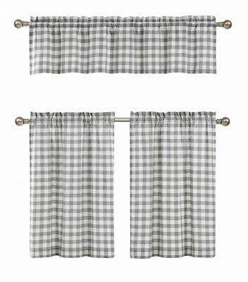 Gray 3 Pc Plaid Kitchen Curtain Set: 35% Cotton\1 Valance\2 Regarding Cotton Blend Grey Kitchen Curtain Tiers (View 6 of 25)