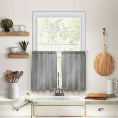 Gray – Cotton Blend – Curtains & Drapes – Window Treatments Pertaining To Cotton Blend Grey Kitchen Curtain Tiers (View 10 of 25)