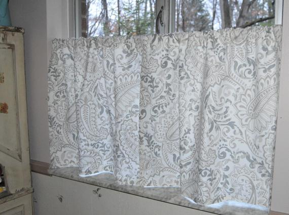 Gray Paisley Cafe Curtains . Premier Prints Shannon Ecru . Gray Taupe Paisley Tiers . Lined Or Unlined (View 17 of 25)