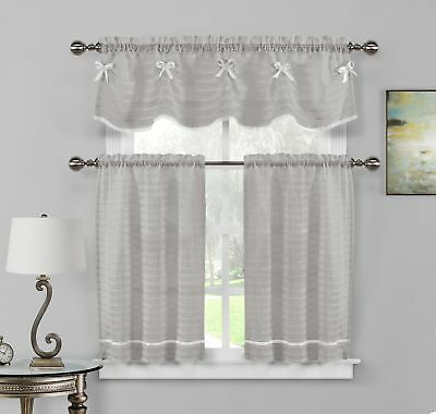 Gray Sheer Window Curtain Set: Pleated, White Stripes With Regard To Pleated Curtain Tiers (View 8 of 25)