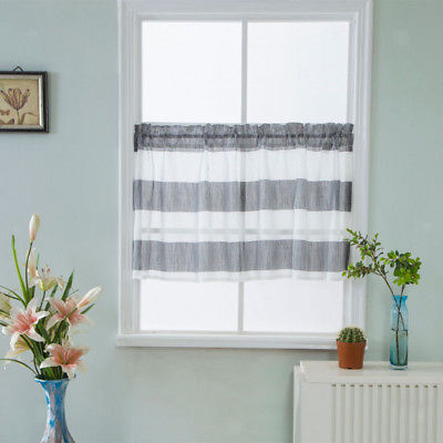 Gray Striped Half Window Curtains Kitchen Valance Privacy Window Curtains |  Ebay For White Micro Striped Semi Sheer Window Curtain Pieces (Image 5 of 25)