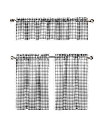 Gray & White Cotton Blend Gingham Tartan Country Plaid Kitchen Curtain Set 784411243699 | Ebay Inside Classic Navy Cotton Blend Buffalo Check Kitchen Curtain Sets (View 5 of 25)