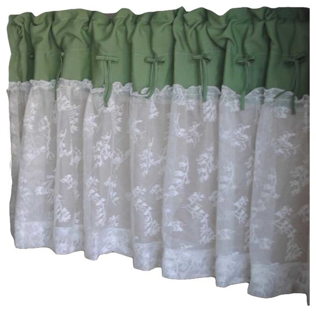 Green/lace – Short Kitchen Curtain Half Curtain Cafe Curtain Tier Curtain With Cotton Blend Grey Kitchen Curtain Tiers (View 14 of 25)