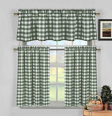 Green & White Cotton Blend Gingham Tartan Country Plaid Regarding Twill 3 Piece Kitchen Curtain Tier Sets (View 15 of 25)