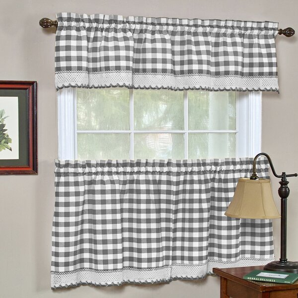 Grey Valance Curtains   Wayfair For Twill 3 Piece Kitchen Curtain Tier Sets (View 6 of 25)