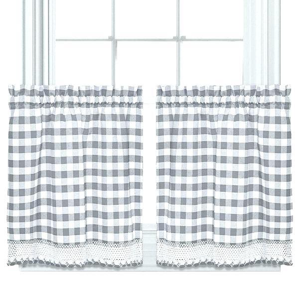 Grey Window Valance Complex Modern Farmhouse Kitchen Black Throughout Cotton Blend Grey Kitchen Curtain Tiers (View 16 of 25)