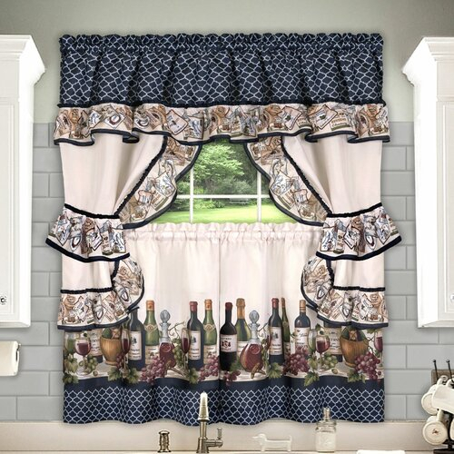Guimauve Mason Jar Cottage Kitchen Window Floral Rod Pocket Set Pertaining To Complete Cottage Curtain Sets With An Antique And Aubergine Grapvine Print (View 9 of 25)