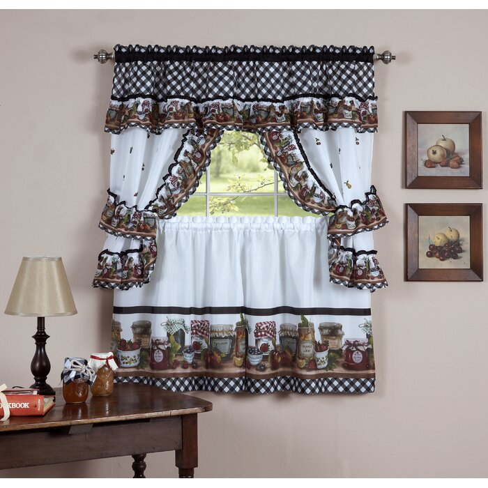 Guimauve Mason Jar Cottage Kitchen Window Treatment Set With Complete Cottage Curtain Sets With An Antique And Aubergine Grapvine Print (View 2 of 25)
