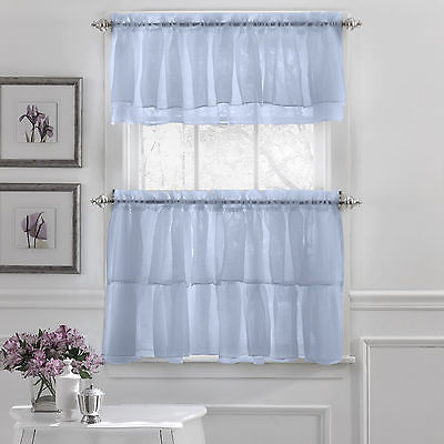 Gypsy Crushed Voile Ruffle Kitchen Window Curtain Tiers Or Valance Blue |  Ebay In Bermuda Ruffle Kitchen Curtain Tier Sets (Image 8 of 25)