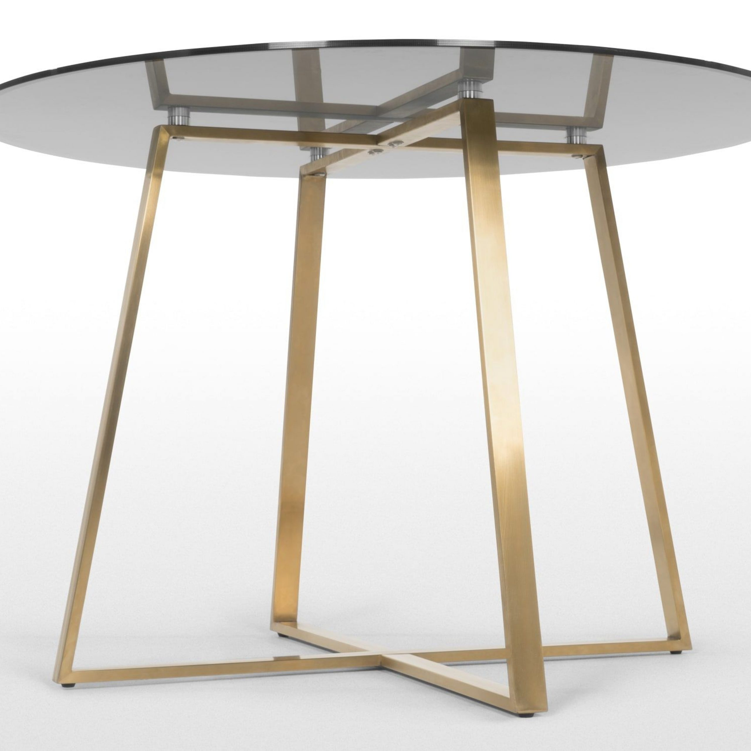 Haku 4 Seat Round Large Dining Table, Brass And Smoked Glass With Regard To Most Recent Montalvo Round Dining Tables (View 8 of 25)