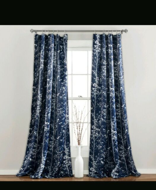 """Half Moon Forest Window Curtain Panel Set 52X84"""" Navy Blue White Gray Room Dark Throughout Forest Valance And Tier Pair Curtains (View 15 of 25)"""