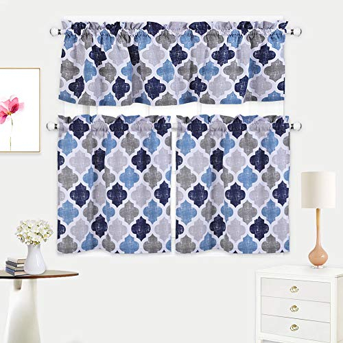 Haperlare 3 Pieces Moroccan Kitchen Curtains Tier & Valance With Regard To Cotton Blend Grey Kitchen Curtain Tiers (View 11 of 25)
