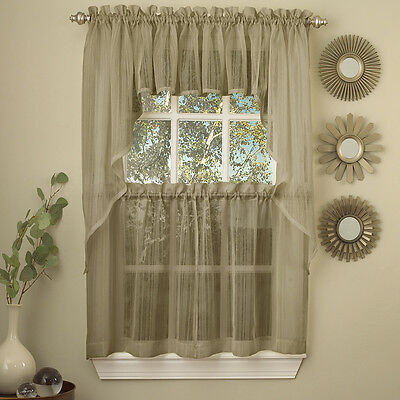 Harmony Mocha Micro Stripe Semi Sheer Kitchen Curtains 36 Within Tranquility Curtain Tier Pairs (View 22 of 25)