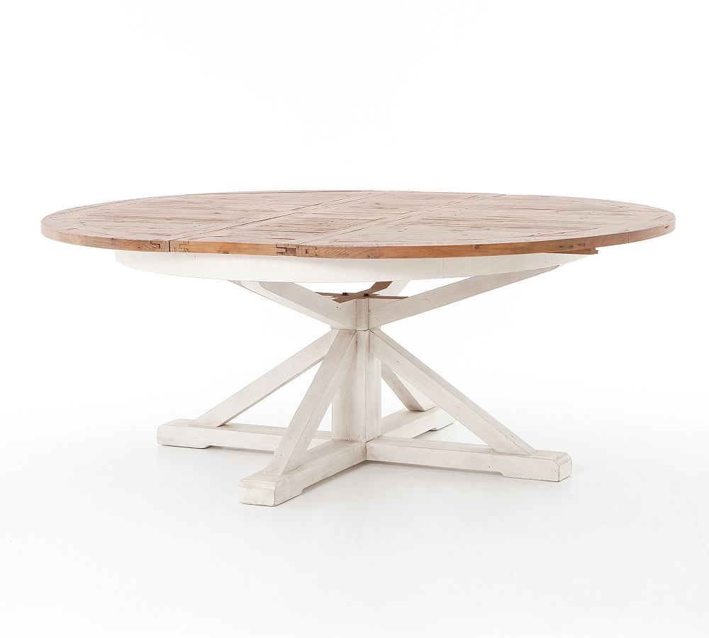 Featured Image of Driftwood White Hart Reclaimed Pedestal Extending Dining Tables
