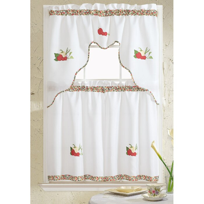 Hartlepool Vegetable Embroidered Kitchen Curtain Inside Window Curtains Sets With Colorful Marketplace Vegetable And Sunflower Print (View 17 of 25)