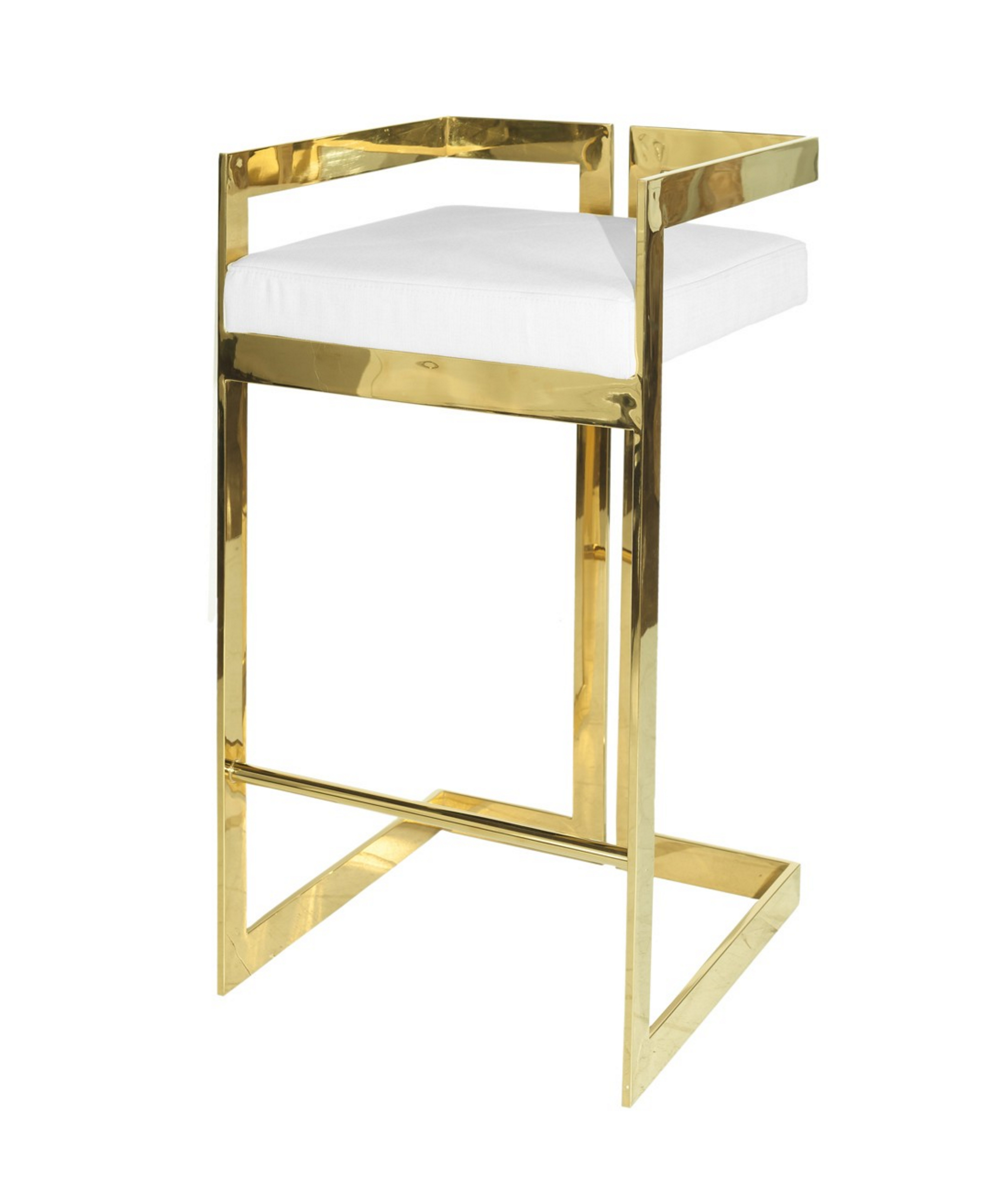 Hearst Brass & White Pu Leather Bar Stool Pertaining To Most Recent Hearst Bar Tables (Image 15 of 25)