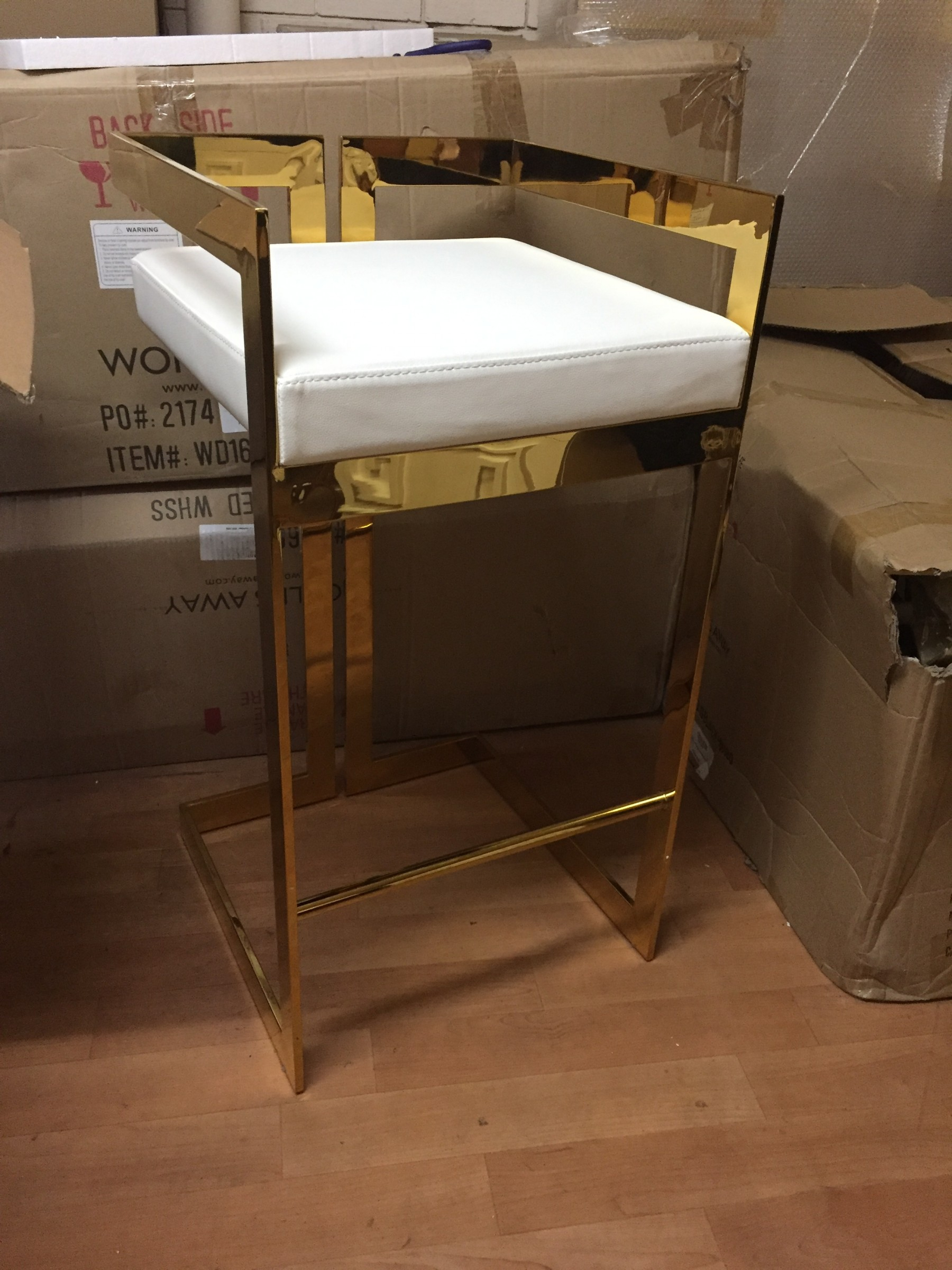 Hearst Brass & White Pu Leather Bar Stool (Seconds) | Shop Now Within Most Current Hearst Bar Tables (Image 13 of 25)