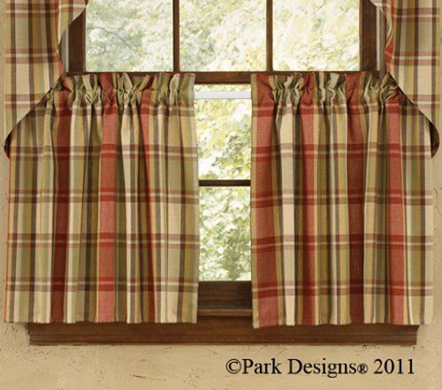 "Heartfelt Window Tier Curtains 24"" Red Tan Mustard Green With Red Primitive Kitchen Curtains (Image 9 of 25)"