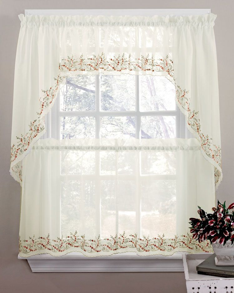 """Heather Curtain, 58""""w X 36""""l Tier Pair – Multi   Kitchen Throughout Luxurious Kitchen Curtains Tiers, Shade Or Valances (View 4 of 25)"""