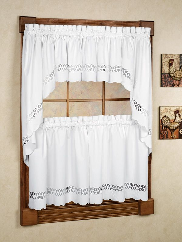 Hellina Tier Window Treatment | Window Treatments | Window Within Class Blue Cotton Blend Macrame Trimmed Decorative Window Curtains (View 20 of 25)
