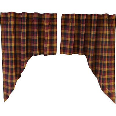 Heritage Farms Primitive Check Swag Lined Set Of 2Vhc Brands 840528160394 | Ebay For Check Scalloped Swag Sets (View 23 of 25)