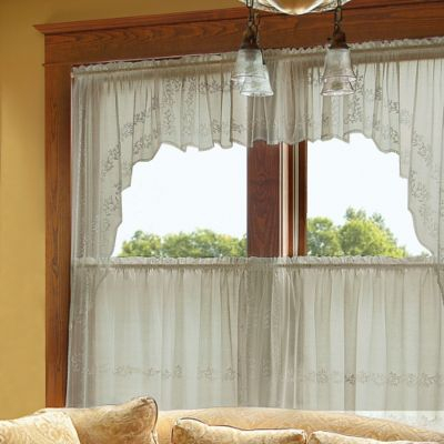 """Heritage Lace Sheer Divine 80"""" X 63"""" Window Swag Pair In With Regard To Sheer Lace Elongated Kitchen Curtain Tier Pairs (View 21 of 25)"""