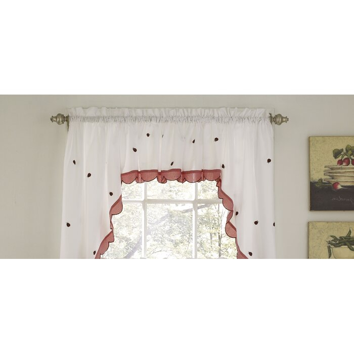 "Higham Traditional Elegance 56"" Window Valance Cafe Curtain Throughout Embroidered Ladybugs Window Curtain Pieces (View 16 of 25)"