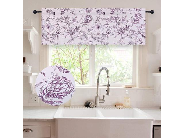 Holking Floral Pattern Valances For Windows Blackout Window Valances For Kitchen/bathroom Rod Pocket Valance Curtains 52 Inch Wide18 Inch Long,one Intended For Floral Pattern Window Valances (View 21 of 25)