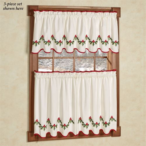 Holly Wreath Holiday Window Tier And Valance Set For Window Curtain Tier And Valance Sets (Image 16 of 25)
