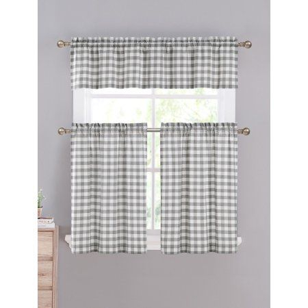 Home In 2019   Farmhouse Kitchens   Kitchen Curtain Sets Pertaining To Cotton Blend Grey Kitchen Curtain Tiers (View 4 of 25)